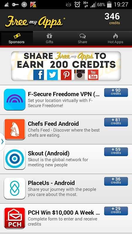 Получение кредитов в FreeMyApps