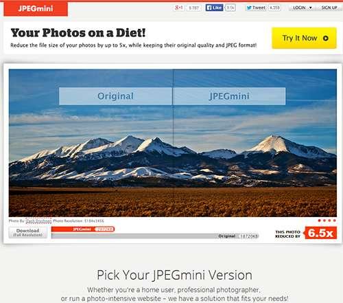 JPEGmini - редактор изображений