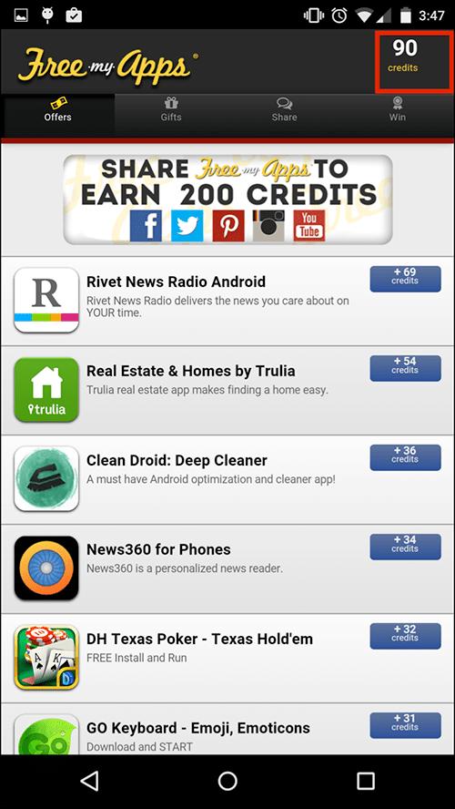 Зарабатывайте кредиты FreeMyApps на Android