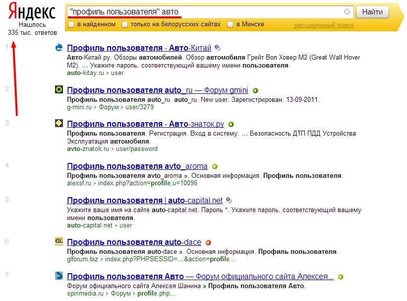 Поиск профилей пользователей в яндексе