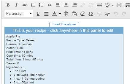 Добавленный рецепт в редакторе WordPress