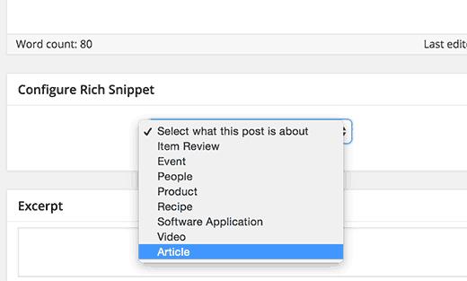 Выбор типа содержимого для добавления расширенных сниппетов в WordPress